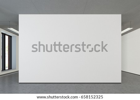 Blank wall in the gallery mockup. 3d illustration