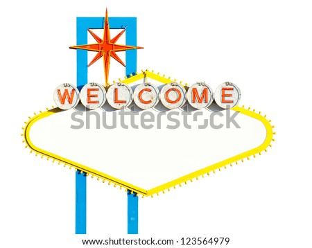Blank Welcome To Las Vegas neon sign on white background