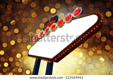 Blank Welcome To Las Vegas neon sign on yellow bokeh background - stock photo