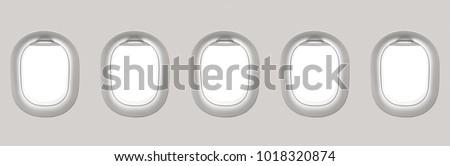 Blank white airplane windows - flight concept #1018320874
