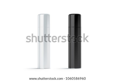 Blank white and black closed hairspray bottle mockup set, 3d rendering. Empty foam aerosol for shaving mock up isolated. Clear metallic deodorant packaging template