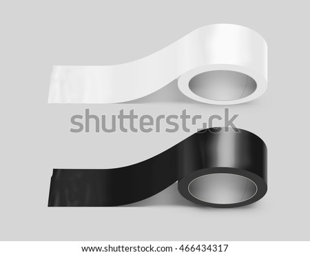 Blank white and black duct adhesive tape mockup, clipping path, 3d illustration. Sticky scotch roll design mock up. Clear glue tape template. Packing insulating tape display.