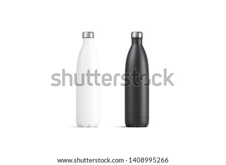 Blank white and black thermo sport bottles mock up, 3d rendering. Empty tourism metal botle with clip mock up isolated. Clear vacuum container of aluminum for tea template. Clear eak proof termos.