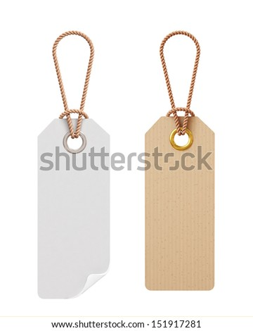 blank white and cardboard tags isolated on white background - stock photo