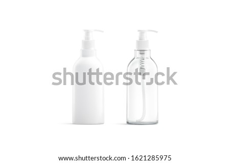 Blank white and transparent plastic pump bottle mockup, isolated, 3d rendering. Empty face or body fluid can with dispenser mock up, front view. Clear pomp jar for antiseptic soap mokcup template. Stock fotó ©