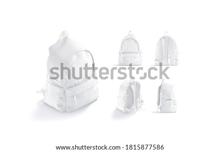 Blank white backpack with zipper and strap mockup, different views, 3d rendering. Empty luggage pouch or haversack with cord mock up, isolated. Clear closed school or sport backpacking template. Stockfoto ©