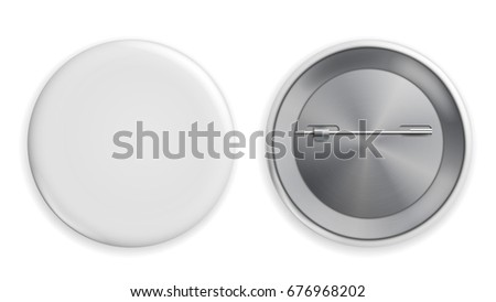 Blank White Badge . Realistic Illustration. Clean Empty Pin Button Isolated.