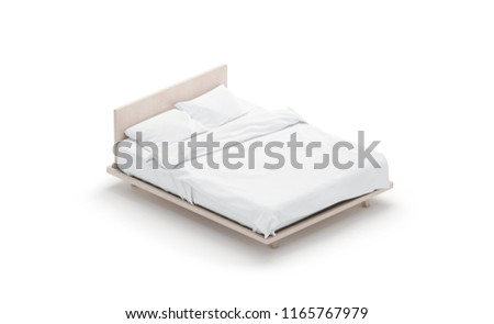 Blank white bed mock up, side view isolated, 3d rendering. Empty blanket and pillows mockup in place for sleep. Doss with clear mattress and bedsheet design template. Bedclothes with pilows and duvet.