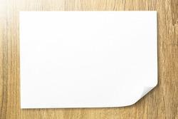 Blank white bended paper sheet