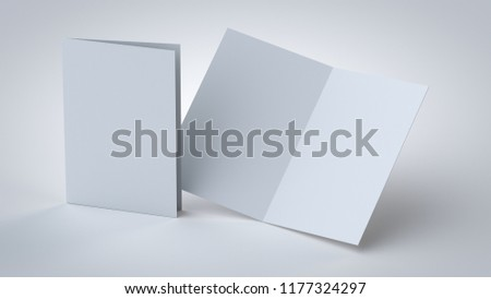 Blank white bi-fold/2-fold booklet, 3D rendering opened and closed, front and back side mock up, with soft shadows in a closer view, for graphic designers presentations and portfolios.