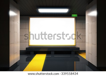 Foto mural Blank white billboard in subway with yellow lines, mock up 3D Render