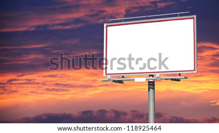 Blank white billboard over evening sky for your advertisement background