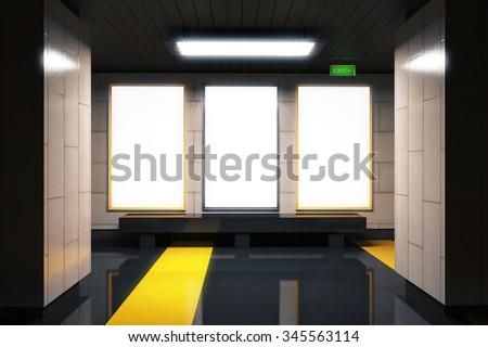 Foto mural Blank white billboards in empty subway hall, mock up 3D Render