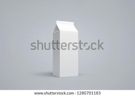 Blank White Blank Packet Carton Juice & milk pack. 3d rendering