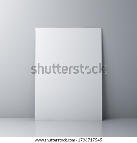 Blank white board or white sheet of paper template isolated against the wall with shadow and reflection 3D rendering 商業照片 ©