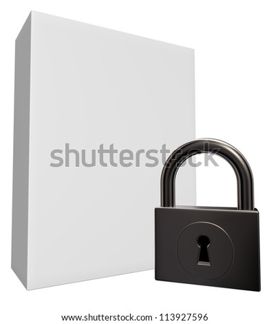 blank white box and padlock - 3d illustration
