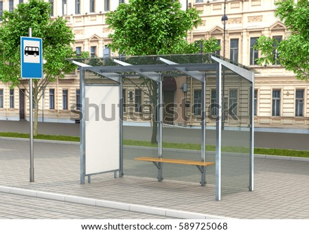 Blank white box layout vertical illuminanates at the bus stop. Side view. 3D illustration