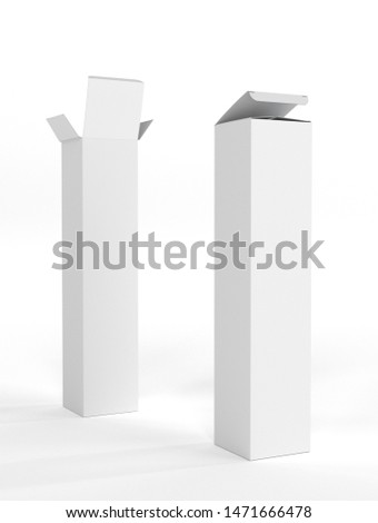 Blank White Box Package Isolated. 3D rendering