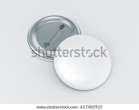 Blank white button badge mockup, front and back side, 3d rendering. Empty clear pin emblem mock up.