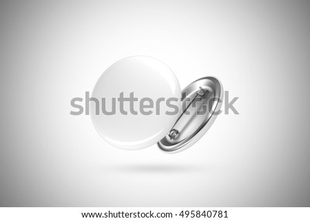 Blank white button badge mockup, isolated, clipping path, 3d rendering. Empty clear pin emblem mock up. Round plastic volunteer label. Vote sign design template. Campaigning badges display.