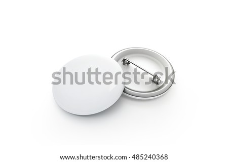 Blank white button badge stack mockup, isolated, clipping path, 3d rendering. Empty clear pin emblem mock up. Round plastic volunteer label. Vote sign design template. Campaigning badges display.