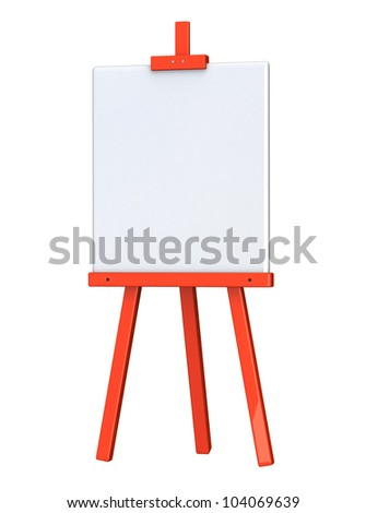 Blank white canvas on red easel 3d