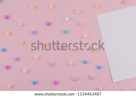 Blank white card decorate with pastel heart on pink background #1134463487