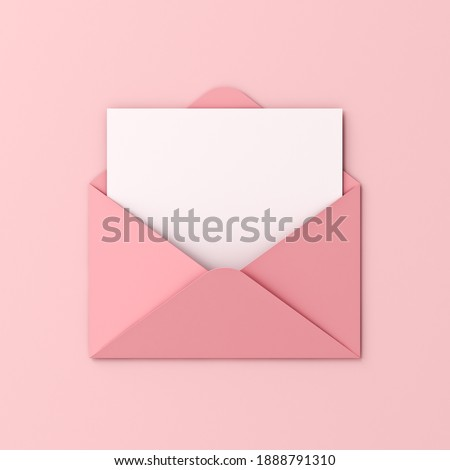 Blank white card in pink envelope isolated on pink pastel color background with shadow love letter minimal conceptual 3D rendering Foto stock ©