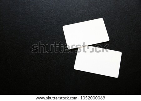 Blank white card template for mock up and presentation design.Flat lay  #1052000069