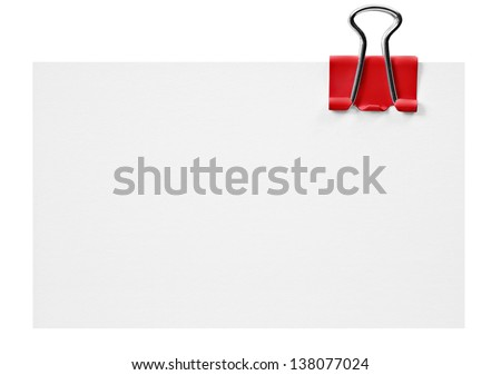 Blank white card with red clip on white