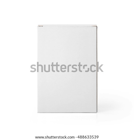 Blank White cardboard box front view isolated on white background. Packaging template mockup collection. With clipping Path included.