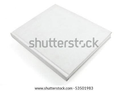 blank white casebound hard back book closed