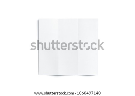 Blank white chart booklet mockup, opened, 3d rendering. Blank white folded brochure mockup, isolated, top view. Chart template mock up display. Clear draft plan paper sheet front.