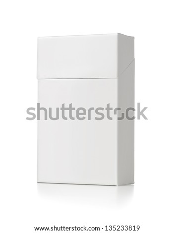 Blank white cigarette package isolated on white background with copy space