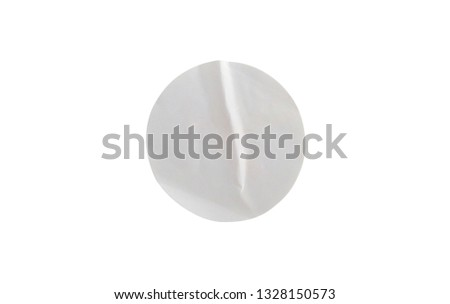 Blank white circle paper sticker label isolated on white background with clipping path #1328150573