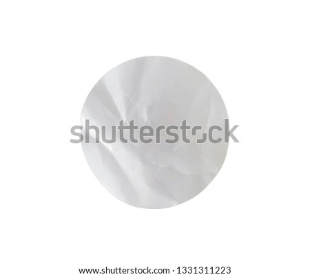 Blank white circle paper sticker label isolated on white background with clipping path #1331311223