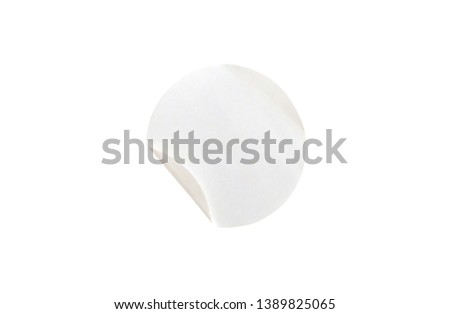Blank white circle paper sticker label isolated on white background with clipping path #1389825065