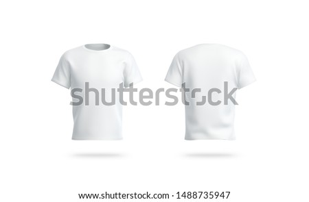 Blank white clean t-shirt mockup, isolated, front and back side view mokc, 3d rendering. Empty casual tshirt model mock up. Clear socer dress for label print template mokcup.