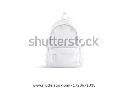 Blank white closed backpack with zipper mock up, front view, 3d rendering. Empty tourist or study haversack with handle and pocket mockup, isolated. Clear packsack for gym or sport mokcup template.