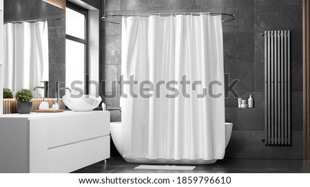Blank white closed shower curtain mock up, front view, 3d rendering. Empty toilet apartment with bath curtain mockup. Screen blind slip  in indoor furniture template. Stockfoto ©