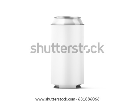 Blank white collapsible beer can koozie mock up isolated, for 500 ml, 3d rendering. Empty neoprene cooler holder mockup for tin beverage. Plain drinkware hugger design template. Clear soda sleeve