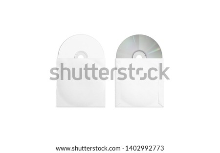 Blank white compact disks packaging mockup, top and back side, isolated, 3d rendering. Empty discs pack in box mock up, top view. Clear digital software record on cd for computer or player template.