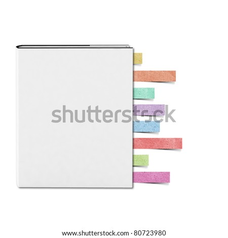 Blank White cover Book and Note pad recycled paper craft stick on white background