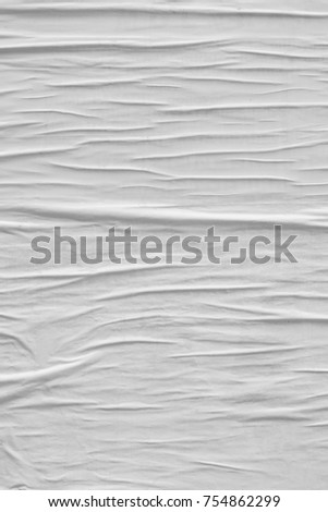 Blank white creased crumpled paper texture background old grunge ripped torn vintage collage posters backdrop #754862299