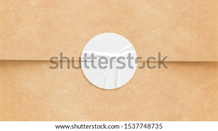 BLank white crumpled sticker on craft paper mock up, 3d rendering. Empty kaft pack with tag for premiss mockup. Clear envelope or gift box wrapping with glue stick mokcup template.