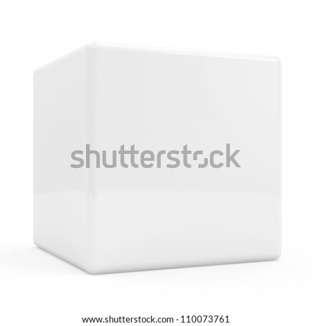 Blank White Cube isolated on white background