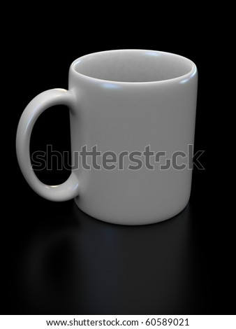blank white cup on the black background suitable for placing logo or your text on it