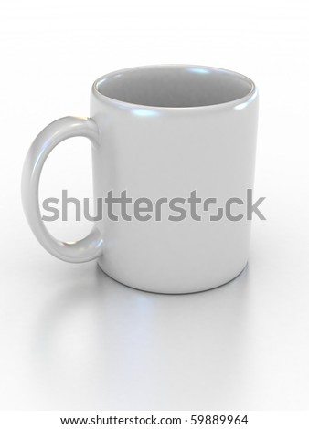 blank white cup on the white background suitable for placing logo or your text on it