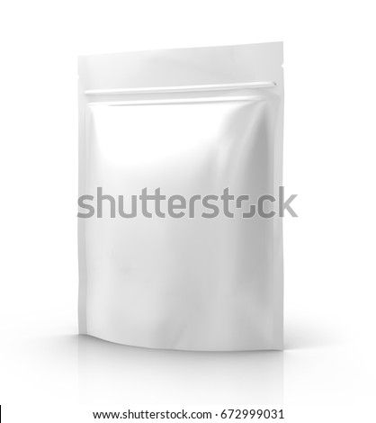 Shutterstock blank white 3d rendering zipper pouch for design use, isolated white background elevated view