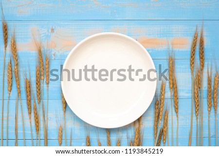 blank white dish and Wheat ears grain on blue wooden background. World Food Day Concept (October 16), Top view and Copy space for your text #1193845219